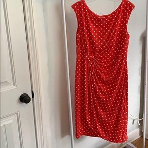 Red and white polka dot dress